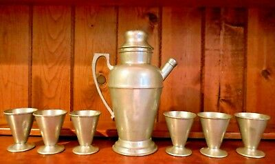Pewter Taber & Tibbits Cocktail Shaker 6 Pewter Macy Cordial Cups Wallingford Ct