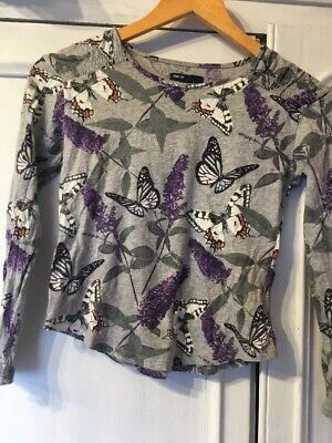 Gap Gapkids Age 10 L Long Sleeved Cotton Girls Top Butterflies