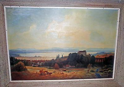 Old Master DUTCH IMPRESSIONIST PAINTING - European FIELD WORKERS LANDSCAPE