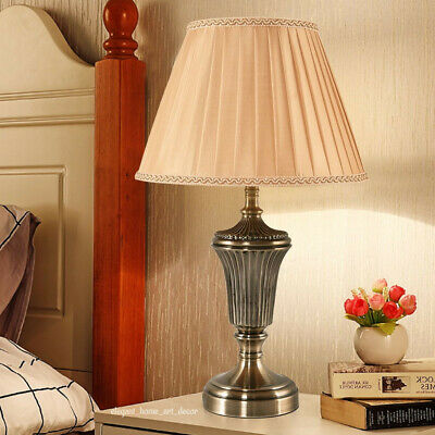 """Vintage Table Lamp 22"""" H Mid Century Modern Antique Brass Color Champagne Shade"""