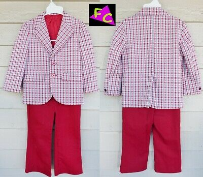 RED 60s 70s BOYS polyester KNIT SUIT JACKET BLAZER 4 5 6 TODDLER SET DISCO FUNK