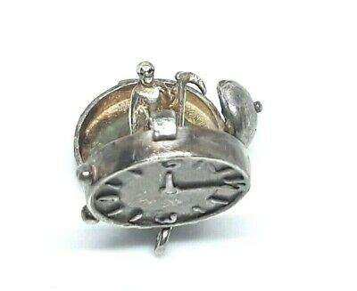 """Vintage Sterling Silver Grim Reaper """"Time & Tide Waits for NO Man"""" Charm OPENS"""