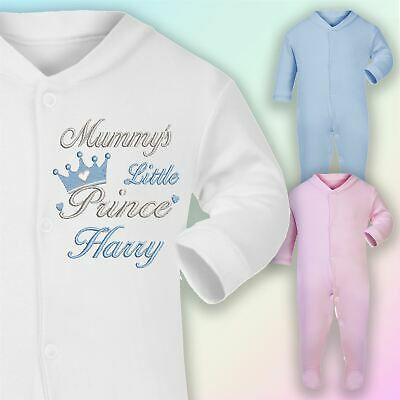 Mummy's Prince Name Embroidered Baby Sleepsuit Gift Personalised Boy