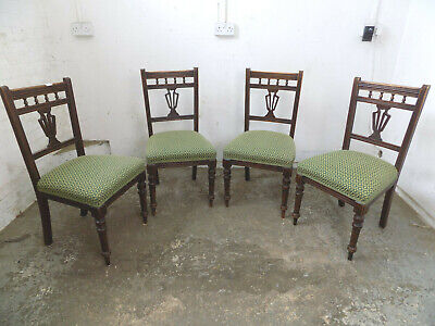 four,antique,edwardian,mahogany,dining chairs,green fabric,padded,chairs,carved