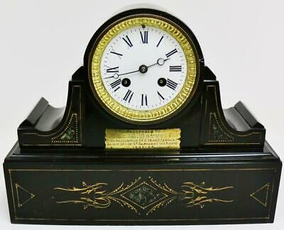 Antique French Marble Slate Striking Engraved Decoration Drumhead Mantel Clock