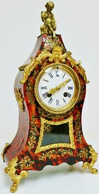 Antique French 8 Day Red Shell & Bronze Bell Striking Boulle Inlaid Mantel Clock