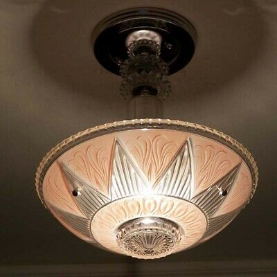 513 Vintage antique aRT DEco Ceiling Light Lamp Fixture Glass Chandelier pink
