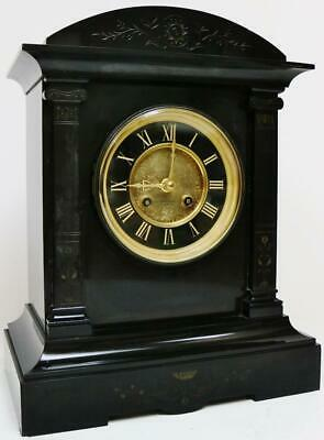 Antique French 8 Day Engraved Slate Architectural Gong Striking Mantel Clock