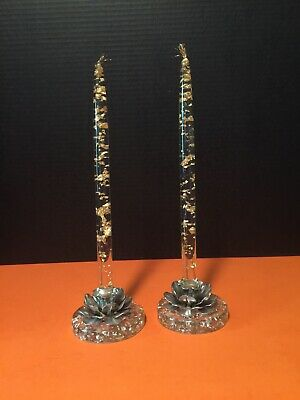 """Vintage Lucite acrylic taper candles set of 2 gold foil flakes 12"""" collectible"""