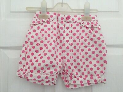 TU Baby Girls White with Pink Spots Shorts size 18-24 months