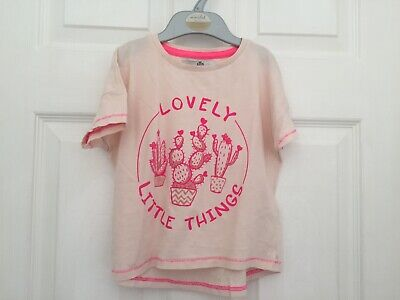 """M&S Girls Pink Mix """"Lovely Things"""" Short sleeve top size 3-4 years"""