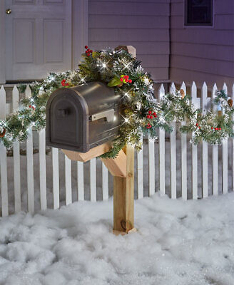 Lighted Mailbox Swag or 9 Ft. Garland Holiday Christmas Outdoor Home Decor