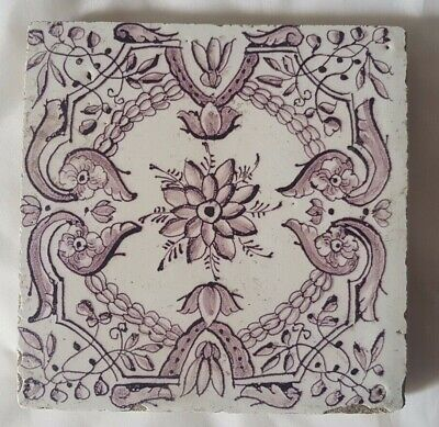 Charming Antique Manganese Delft Tile . Approx 13.5Cm