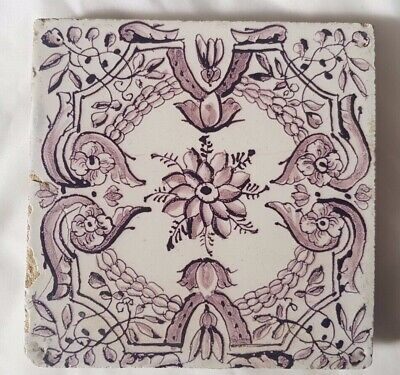 Striking Antique Manganese Delft Tile. Approx 13.5Cm