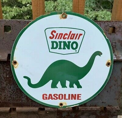 Vintage Sinclair Dino Porcelain Enamel Dealer Sign Gas Oil Pump Plate