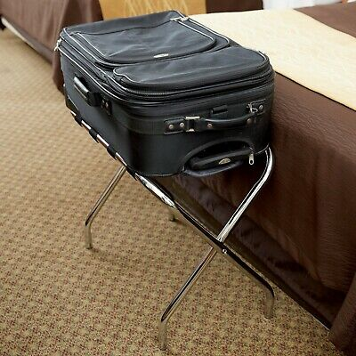 Chrome Folding Heavy Duty Metal Luggage Rack with Rubber Feet Floor Protectors
