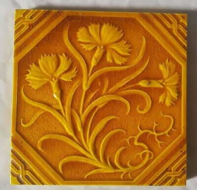 CHARMING yellow MINTON FLORAL DESIGN ANTIQUE  raised majolica aesthetic TILE