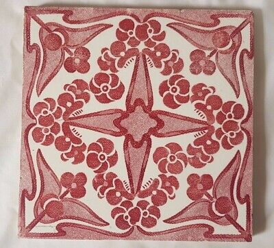 art nouveau ENGLISH RED ANTIQUE 6 INCH TILE