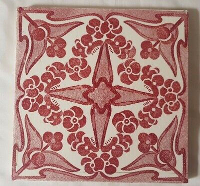 Striking English Red Art Nouveau Antique 6 Inch Tile