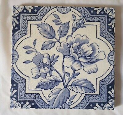 Charming Blue & White English  Floral Antique 6 Inch Tile