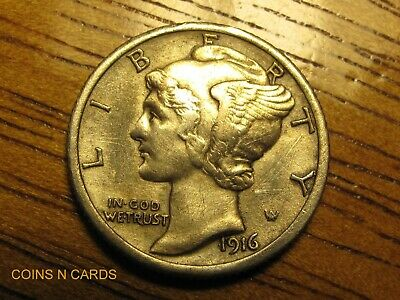 1916-D 10c Mercury Silver Dime Key to the Series Extra Fine XF+ Details Scarce!
