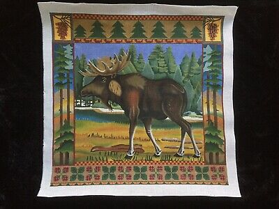 Hand-painted Needlepoint Canvas Large Moose/Colorful Border/Stretcher Bars
