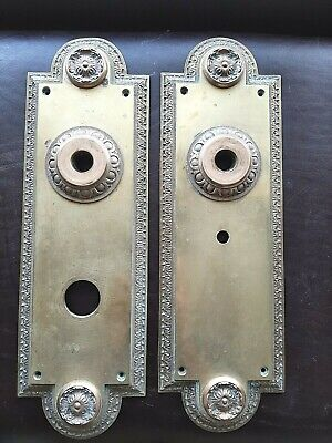 2 Very Large Door Knob Back Plates Antique Victorian Solid Brass Heavy Plate