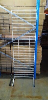 Brand new white 1800mm x 600mm slat grid mesh panel with single sided legs