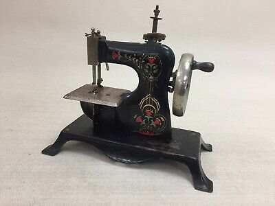 Antique Metal Toy Crank Handle Operated Sewing Machine