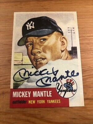 MICKEY MANTLE 1953 Topps #82 New York Yankees AUTO Reprint Card MINT Card