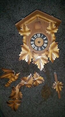 Vintage  Black Forest Cuckoo Clock West Germany For Parts Or Repairs 2