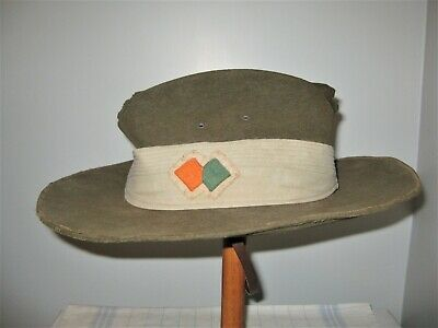 Australian Army Anzac Ww2 Slouch Hat,Nice One With Rare Unit Patch