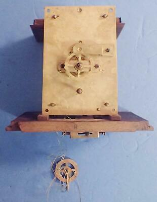 Antique German Single Weight Driven Regulator Wall Clock Movement For Parts