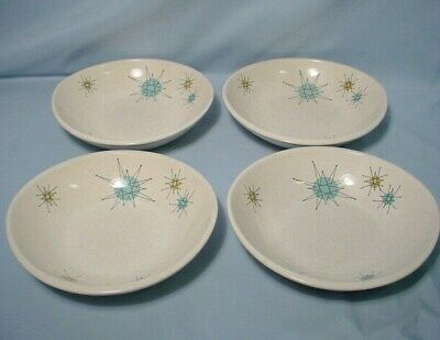 "Franciscan Starburst 4 Cereal Bowls 7"" Across Mid Century Modern Atomic Dishes"