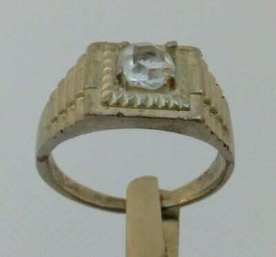 Rare Extremely Ancient Roman Ring Silver Color Artifact With Stone White