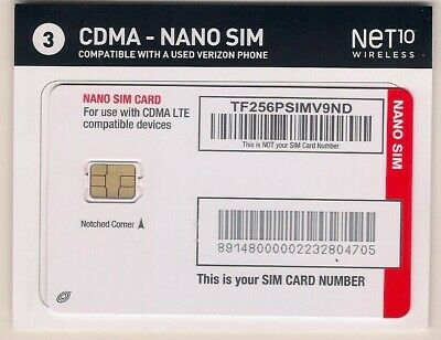 Verizon CDMA LTE Net10 Nano Sim Card NEW