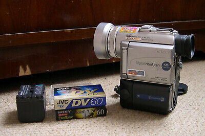 Sony Handycam PC100E DV Tape Camcorder with two batteries and tapes