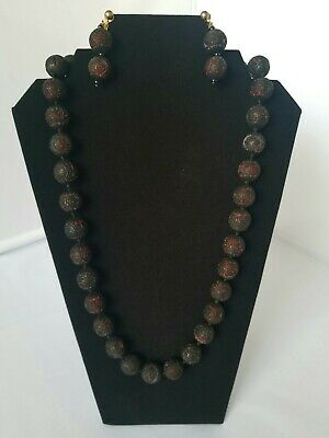 Vintage Black & Red Cinnabar Chinese Carved Beads  Necklace & Long Earrings Set