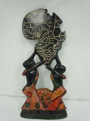 African Wood Hand Carved Wall Plaque 2 MALES HOLDING Africa Shaped CARVING