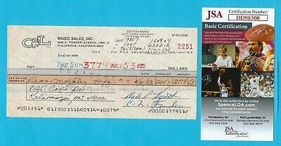 Leo Fender G&L 1983 Autographed Check Made To Dean Markley Strings JSA COA