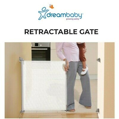 Indoor/Outdoor Baby Child Safety Security Retractable Gate Up To 140cm WHITE