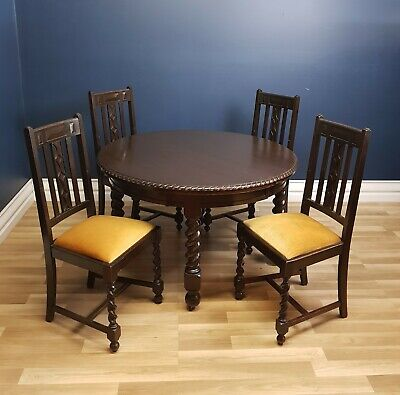 Jacobean, Oak, Dining Setting Circa 1920, Four Chairs and Table Ready to Use