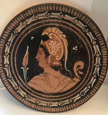 Greek Red-Figured Black Glazed Pottery Plate Honoring Soldier Circa 300 BC