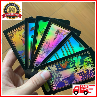 Tarot Cards Deck 78 Pieces Holographic Glowing Shining Future Fortune Telling