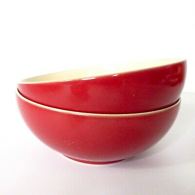 Set of 2 Denby England HARLEQUIN Soup / Cereal Bowls ~ Red / Cream 6.5""