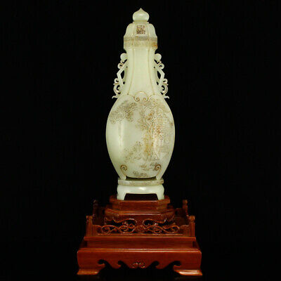 """11"""" China Natural carved old antique hetian jade Children play double ear vase"""
