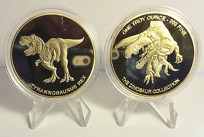"2014 1 OZ T-REX COIN ""The Dinosaur Collection"" Finished in 999 24k Gold"