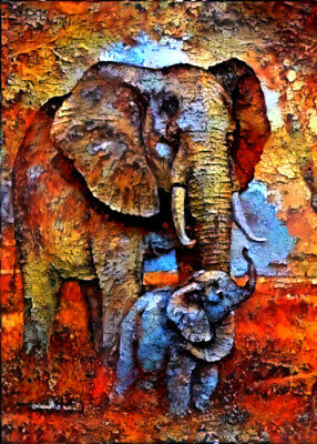 """ACEO Collectible Art Card """"Elephant"""""""