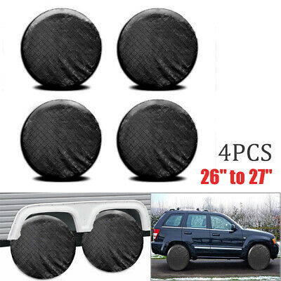 """4x Wheel Tire Covers For RV Trailer Camper Car Truck 26"""" to 27'' Tire Waterproof"""