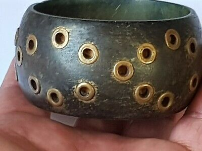 Fantastic Extremely Rare Late Medieval Wood Bracelet Imazing.36,8 Gr.65 Mm